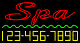 Double Stroke Spa with Phone Number Neon Sign