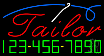 Red Tailor with Phone Number Neon Sign