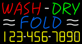 Wash Dry Fold with Number Neon Sign
