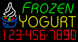 Frozen Yogurt with Phone Number Neon Sign