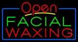 Open Green Red Facial Waxing Blue Border Neon Sign