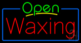Green Open Waxing Blue Border Neon Sign