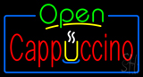 Open Cappuccino Blue Border Neon Sign
