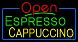 Red Open Espresso Cappuccino with Blue Border Neon Sign
