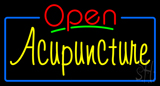 Red Open Acupuncture Blue Border Neon Sign