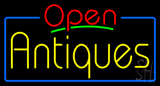 Red Open Yellow Antiques Neon Sign