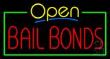 Yellow Open Bail Bonds Green Line Neon Sign