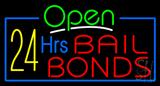 Green Open 24 Hrs Bail Bonds Neon Sign