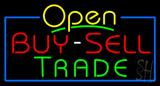 Yellow Open Buy Sell Trade Blue Border Neon Sign