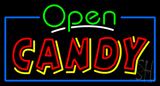 Green Open Red and Yellow Candy Neon Sign