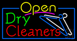 Open Dry Cleaners Logo Neon Sign