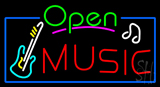Open Music with Guitar Logo Neon Sign