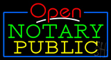 Red Open Notary Public Blue Border Neon Sign