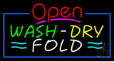 Open Wash Dry Fold Blue Border Neon Sign