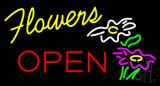 Yellow Flowers Red Block Open Neon Sign