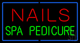 Red Nails Green Spa Pedicure with Blue Border Neon Sign