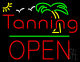 Red Tanning Block Open Palm Tree LED Neon Sign