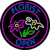 Round Florist Open Pink Border LED Neon Sign