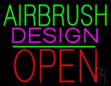 Airbrush Design Block Open Green Line LED Neon Sign