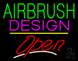 Green Airbrush Pink Design Open Yellow Line LED Neon Sign