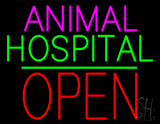 Animal Hospital Block Open Green Line LED Neon Sign