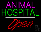 Animal Hospital Open White Line LED Neon Sign