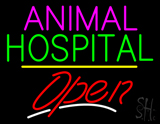 Animal Hospital Open Yellow Line LED Neon Sign