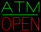 ATM Block Open Green Line LED Neon Sign