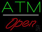 ATM Open White Line LED Neon Sign