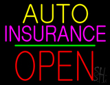 Auto Insurance Open Block Green Line LED Neon Sign
