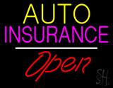 Auto Insurance Open White Line LED Neon Sign