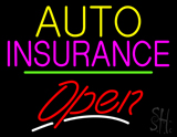 Auto Insurance Open Yellow Line LED Neon Sign