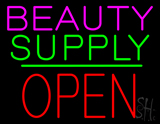 Beauty Supply Block Open Green Line LED Neon Sign