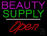 Beauty Supply Open White Line LED Neon Sign