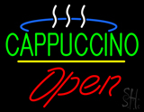 Cappuccino Logo Open Yellow Line LED Neon Sign