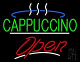 Green Cappuccino Logo Open White Line LED Neon Sign