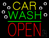 Car Wash Open Block Green Line LED Neon Sign