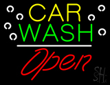 Car Wash Open White Line LED Neon Sign
