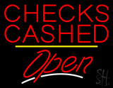 Checks Cashed Open Yellow Line LED Neon Sign