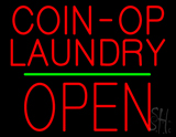 Red Coin-Op Laundry Block Open Green Line LED Neon Sign
