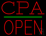 CPA Block Open Green Line LED Neon Sign