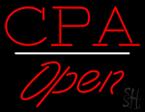CPA Open White Line LED Neon Sign