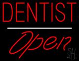 Dentist Open White Line LED Neon Sign