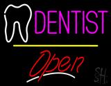 Dentist Logo Open Yellow Line LED Neon Sign
