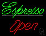 Cursive Green Espresso Open LED Neon Sign