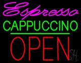 Espresso Cappuccino Block Open Green Line LED Neon Sign