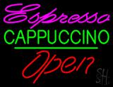 Espresso Cappuccino Open Green Line LED Neon Sign