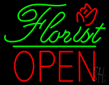 Green Florist Green Line Red Block Open LED Neon Sign