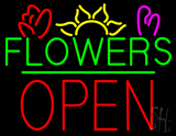 Green Flowers Red Block Open LED Neon Sign