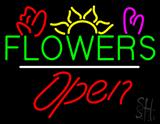 Flowers Logo Open White Line LED Neon Sign